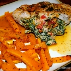 Stuffed Pork Chops with sun-dried tomato, spinach and goat cheese