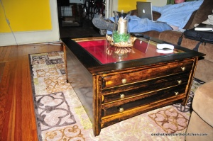 Our refinished coffee table.