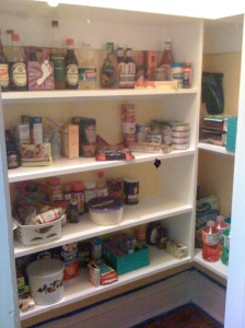 Daniel and his Dad installed a pantry in a closet handy to the kitchen.